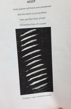 "So not appropriate, but so funny. ""Here are four lines of text and 12 lines of cocaine. *Disclaimer I do not do cocaine"" Students at their worst"