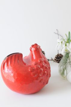 Mari Simmulson for Upsala Ekeby - Swedish Pottery, Red Hen Money box - Made in Sweden by FridasVintage on Etsy