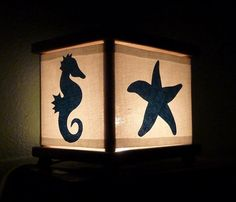 Ocean Night Light Under the Sea Teal Blue Seahorse Starfish Sea Turtle Octopus