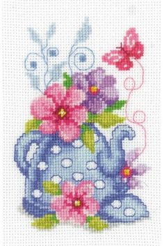 Blue Tea Pot & Flowers Cross Stitch Kit £11.75 | Past Impressions | Vervaco