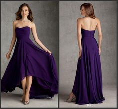 Wholesale Bridesmaid Dresses - Buy Exquisite Purple Strapless A-line High Low Ruffle Chiffon Bridesmaid Dresses Short front Long Back Party Dresses 2014 Newest, $78.31 | DHgate