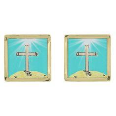 Symbolic Cross Gold Finish Cufflinks