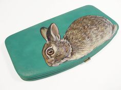 NEW  Cottontail Rabbits womens flat clutch wallet  teal by NYhop, $140.00