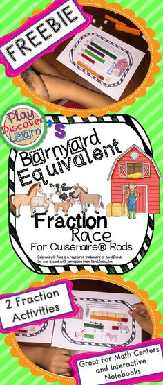 PDL's Barnyard Equivalent Fraction Race Game for Cuisenaire® Rods has two fraction activities that allow student to gain fluency in equivalent fractions. These activities are a platform for students to discover equivalent fractions. These activities are great in large groups, small groups or individually. #Cuisenaire Rods