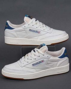 Reebok club 85 #retro trainers in chalk white & blue - #reebok classic #tennis sh, View more on the LINK: http://www.zeppy.io/product/gb/2/172252474909/