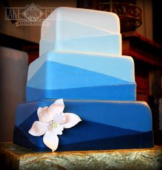 Our geometric take on a fondant ombre cake. Done in pretty shades of blues if fit in perfectly on the Skansonia ferryboat. Lake Union Cafe & Custom Bakery