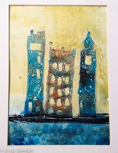 gelatin monoprint of cityscape - made with masking stencils - learn more about making stencil