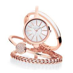 Anne Klein Rose gold Watch and 3-bracelet set - $225