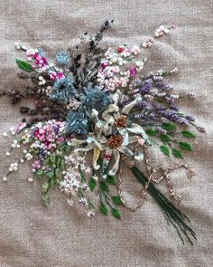 Image may contain: plant and outdoor Embroidery Flowers Pattern, Flower Patterns, Hand Embroidery, Pretty Hands, Needlework, Diy And Crafts, Christmas Wreaths, Floral Wreath, Bloom