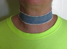 Distressed denim choker necklace trendy and by maggiemaybecrafty