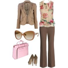 brown suit w/ splash of color...something i could wear to a business meeting