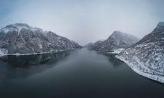Drone panorama of Sandvinvatnet