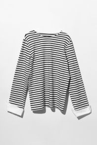 FRS Stripe Long Sleeves Cotton T-shirt With Shirt Cuff - FrontRowShop