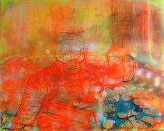 Beatrice Richter: Bombenalarm. Acryl, Tusche und Lack auf Leinwand #Maultier #Esel # Gasmaske #abstrakt #Giftgas #Malerei #beatricerichter #startyourart www.startyourart.de