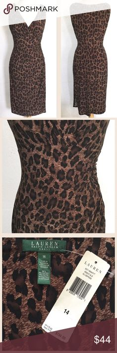 """Lauren Ralph Lauren Dress Measures about 18"""" across the armpits and 43"""" in length.  98% Polyester 2% Elastane.  Leopard print, cross over V-neck, gathers at the shoulders and empire waist, gathers and slit on one side.  Pull over style.  No trades. Lauren Ralph Lauren Dresses Midi"""