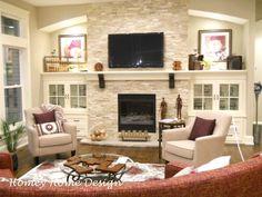 Resultado de imagen para shelving ideas beside stone fireplace with tv above