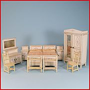 """10 Pc. Dollhouse Gottschalk Bedroom Suite from Flora Gill Jacobs Early 1900s 1"""" Scale"""
