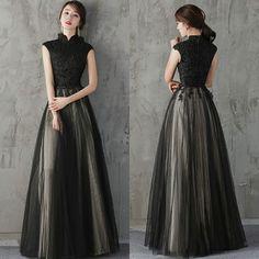 ドレス-ロング スタンドカラー黒パーティードレス ブラック 結婚式 二次会 式典