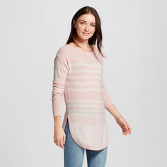 Women's Long Sleeve Striped Pullover Sweater Pink Xxl - Merona