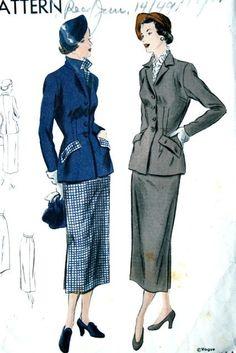 Vogue 6689 suit pattern 1949.