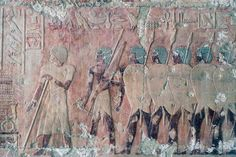 Egyptians being welcomed to Punt, scenes of Kingdom of Punt, southern wall of central colonnade, Mortuary Temple of Hatshepsut, Deir el-Bahari, Luxor, Thebes (Unesco World Heritage List, 1979), Egypt, Egyptian civilization, New Kingdom, Dynasty XVIII