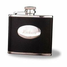 Personalized Stainless Steel 4 oz. Leather Flask by JDS. $22.91. Free Engraving - Enter Engraving and Personalization into the Gift Message Field. Product usually ships in 4-5 business days. Encased in a rich black leather sleeve, our stainless steel flask feels right at home in a groomsman's trouser pocket. Holds 4 ounces. Personalize with two lines of up to 15 characters per line.