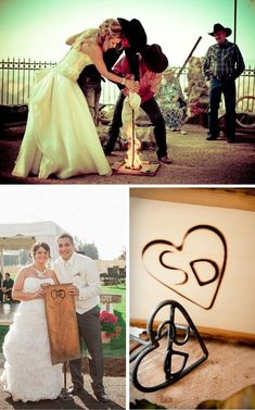 We love this rustic twist on a typical unity candle ceremony! These couples branded a piece of wood to display forever.