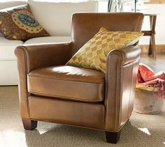 """Irving Leather Armchair -  32"""" wide x 35.5"""" deep x 32.5"""" high, Seat Depth (inside seating): 22.5"""" deep, Diagonal Depth: 32"""", Weight: 55 pounds"""