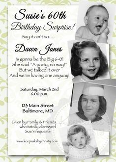 Custom Milestone Photo Birthday Invitation- 30th, 40th, 50th, 60th, 70