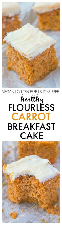 Healthy Flourless Carrot Breakfast Cake- Have cake for breakfast with this delicious, moist and tender breakfast cake without any nasties- No butter, oil, flour or sugar! Perfect for Easter too! {vega (Cake Without Baking Powder) Gluten Free Baking, Gluten Free Desserts, Vegan Desserts, Vegan Gluten Free, Gluten Free Recipes, Vegan Recipes, Soy Flour Recipes, Potato Recipes, Flourless Desserts