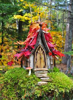 This is a custom fairy house. My wish list: autumn, moss, stone, birch bark, acorn Fairy Garden Houses, Garden Art, Garden Design, Fairies Garden, Fairy Land, Fairy Tales, Fairy Village, Fairy Furniture, Gnome House