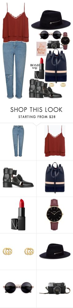 """Untitled #388"" by nguyethally ❤ liked on Polyvore featuring Miss Selfridge, Zara, 3.1 Phillip Lim, Mother of Pearl, NARS Cosmetics, CLUSE, Gucci, Larose and ban.do"