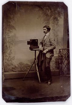Image of a photographer with camera from a collection of 179 American tintype photographs, 1860s-90s  : swanngalleries.com
