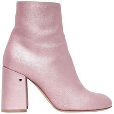 Laurence Dacade Women 90mm Philae Glitter Leather Ankle Boots ($975) ❤ liked on Polyvore featuring shoes, boots, ankle booties, pink, ankle boots, short boots, leather booties, leather high heel boots and pink boots