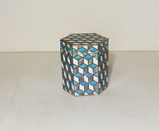 CHINESE CLOISONNE ENAMEL OPIUM SNUFF HEXAGON CANISTER JAR BOX