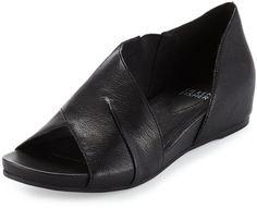 6c14ac1f5001 Eileen Fisher Code Leather Demi-Wedge Sandal