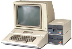 Computer day at school was a lot like Christmas. Especially on 'Oregon Trail' day.   Yes. Yes it was! Oh my at these old school Apple computers with the floppy disk drives!