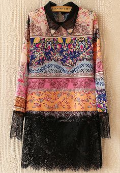 To find out about the Black Lapel Floral Print Contrast Lace Dress at SHEIN, part of our latest Dresses ready to shop online today! Stylish Dresses For Girls, Casual Dresses, Fashion Dresses, Velvet Dress Designs, Kalamkari Dresses, Kurta Neck Design, Kurta Designs Women, Kurti Designs Party Wear, Designs For Dresses
