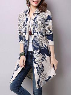 Flower Print Button Up Curved Hem Blouse - Women's Fashion Trends Batik Fashion, Hijab Fashion, Fashion Dresses, Fashion Blouses, Fashion Fashion, Trendy Tops For Women, Blouses For Women, Ladies Blouses, Women's Blouses