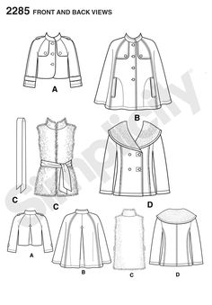 Womens cape, jackets and fur vest Sewing Pattern 2285 Simplicity