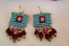 Micro Macrame Earrings Boho chic earrings Crystal by Anadalis
