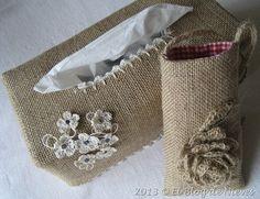 Funda para caja de pañuelos en burlap