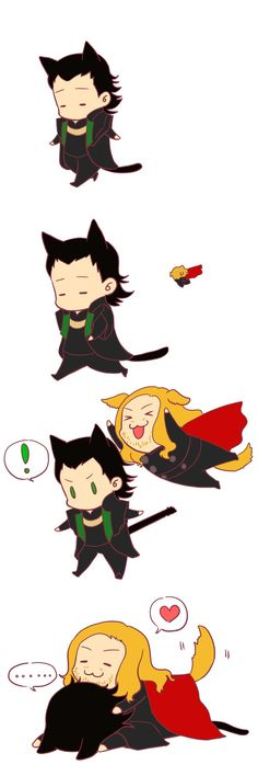 Puppy Thor and Loki kitty
