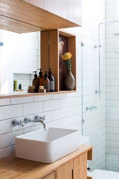 Via thedesignfiles.com.au great scandi style home, inspiration for our bathroom reno Bathroom Vanity Designs, Rustic Bathroom Vanities, Rustic Bathrooms