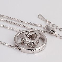 Amazon.com: Heart in Ring - Two Pendant Love You Gift for Her Crystals Silver Toned Woman Fashion Necklace 18 inch: Jewelry