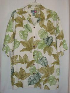 HILO-HATTIE-Hawaiian-Green-Leaves-Silk-Short-Sleeve-Aloha-Mens-Shirt-Size-M