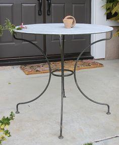 "Avignon table, 30""x30"", steel base, galvanized top"