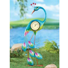 Peacock Thermometer Yard Decor