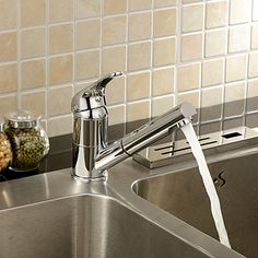 Single Handle Solid Brass Chrome Finish Pull Out Kitchen Faucet - USD $ 89.99