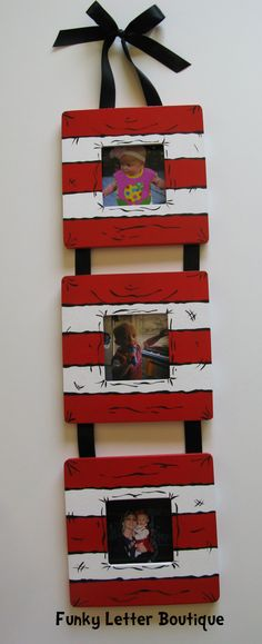 Dr Seuss Cat in the hat Hand Painted Wooden Frame set www.funkyletterboutique.com